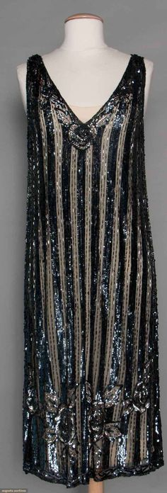 Flapper Dress (image 1) | 1920s | tulle, pewter sequins, bugle beads | Augusta Auctions | November 12, 2014/Lot 208