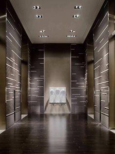 Elevator Park Hyatt Shanghai, Shanghai Hotels, Hotel Interiors, Office Interiors, Lift Design, Wall Design, Elevator Design, Hotel Corridor, Elevator Lobby
