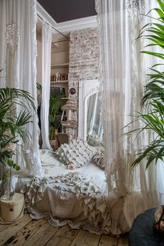 White Lace & Muslin House Gowns with hand made bed throe and cushions by Room Ideas Bedroom, Home Decor Bedroom, Pretty Room, Aesthetic Room Decor, Dream Apartment, Cozy Room, Dream Rooms, My New Room, House Rooms