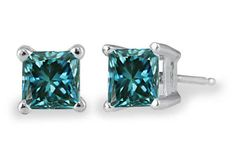 1/2 Carat #Princess-Cut #Blue #Diamond #Stud #Earrings, #WhiteGold - #jewelry #jewelryaddict