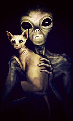 Aliens and cats Paul The Alien, Alien Aesthetic, Grey Alien, Sphinx Cat, Avengers Art, Psy Art, Alien Races, Aliens And Ufos, Alien Art