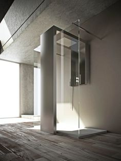 Steel Decorative radiator / shower wall panel MONOLITE by BRANDONI | #Design Fabrizio Batoni #bathroom #glass #shower
