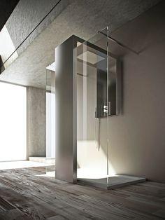 Steel Decorative radiator / shower wall panel MONOLITE by BRANDONI | #Design Fabrizio Batoni #bathroom #glass #shower