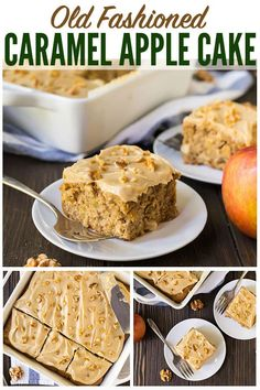Old Fashioned Fresh Apple Cake with Caramel Cream Cheese Frosting. INCREDIBLE autumn flavor! Easy, moist, and perfect for any apples like Granny Smith or Honeycrisp. Healthy whole wheat recipe that families love! #wellplated #applecake #desserts #healthy