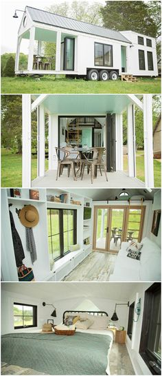 The tiny house features two bedroom lofts and a large deck made from 100% recycled materials. The glass entry wall and retractable screens help blend the house and deck into one large living area. Large windows and four skylights allow plenty of natural light into this modern farmhouse. Inside, zero-VOC flooring and paint were used throughout. 100% recycled denim insulation provides R21 value and offers a green alternative to traditional insulation.