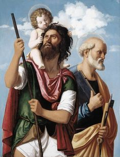 """""""St. Christopher with the Infant Christ and St. Peter"""" by Cima da Conegliano, c. 1505"""