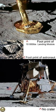 """The """"moon sand was so soft it left perfect footprints yet no crater and no dust on pads from a 10000lb thrust engine? It is curious to see no crater or even disturbance of dust on the pods where photos claim it had landed."""