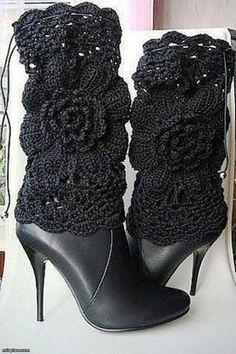 Black Floral Crocheted Boot Covers at sam.mirtesen.ru                  Фото собраны в пинтересте.  Источник