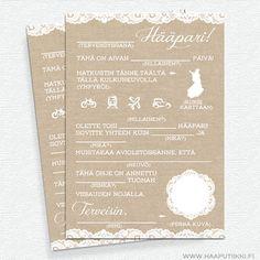 Viesti hääparille, Rustic Lace 10 kpl - Ribbon & Ink Dream Wedding, Wedding Dreams, Wedding Things, Wedding Planning, Wedding Decorations, Wedding Inspiration, Ink, Rustic, Lace