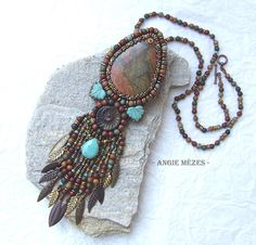 Beaded Necklace, Bead Embroidered Necklace, Turquoise Bronze, Gift for Wife, Gift for Daughter, Christmas Gift, Fall Fashion
