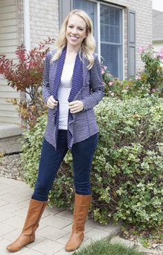 Market & Spruce Margerie Stripe & Dot Open Cardigan from Stitch Fix