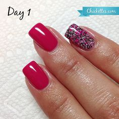 Kiara Sky Gel Polish Review by Chickettes.com pink=Socialite, & Cherry Dust on Index.