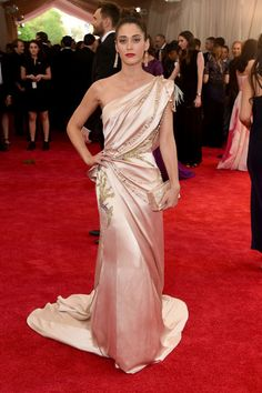 Lizzy Caplan in Donna Karan. See all the looks from the 2015 Met gala.