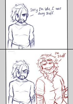 based off of this post: Hanzo is noticeably disheveled as he enter the room: Sorry I'm late, I was doing stuff. Mccree walks in also disheveled and grinning smugly: I'm stuff Overwatch Hanzo, Overwatch Comic, Overwatch Memes, Overwatch Fan Art, Overwatch Drawings, Hanzo Shimada, Gay Comics, Character Concept, Game Art