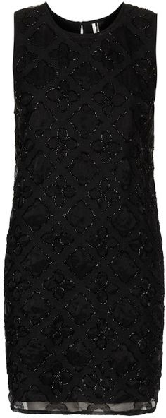 Black Embellished Shift Dress by Topshop