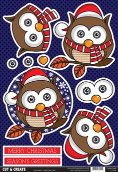 t t Buzzcraft Christmas Cut & Create - Owl Christmas Sheets, Christmas Owls, Christmas Cards To Make, Christmas Paper, Christmas Images, Christmas Decorations To Make, Xmas Cards, Christmas Projects, Christmas Greetings