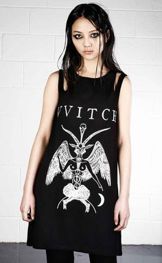 UK16 £34,99 Disturbia Witch Cut Out Vest  This awesome long length vest from Disturbia features an eye catching Baphomet print below the text 'VVITCH'. Made to have a relaxed, casual fit, this vest is great for Summ...