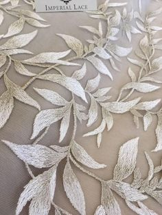 White with brown lace fabric French Lace Embroidered lace