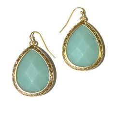 Teal Gem Teardrop Earrings...lovely