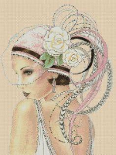 Cross stitch chart Art Deco Lady pink - No 4a