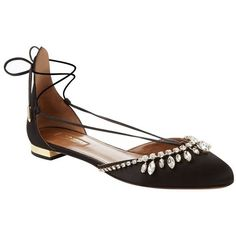 Aquazzura Alexa Jewel Flat (1 410 BGN) ❤ liked on Polyvore featuring shoes, flats, chaussures, lace up shoes, laced up shoes, sparkly flats, flat heel shoes and sparkly shoes