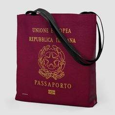 Italy - Passport Tote Bag