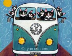 Road Trip Bus Cats Ryan Conners What fun to give to your aging hippy or… I Love Cats, Crazy Cats, Cool Cats, Combi Wv, Gatos Cool, Cat Cards, Here Kitty Kitty, Cat Drawing, Whimsical Art