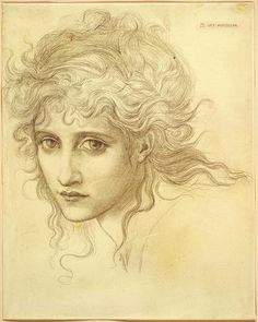 "Sir Edward Burne-Jones ""Head of a Young Woman - Study for The Hesperides-Harvard Museum Portrait Sketches, Pencil Portrait, Art Sketches, Art Drawings, Life Drawing, Figure Drawing, Painting & Drawing, Edward Burne Jones, Dante Gabriel Rossetti"