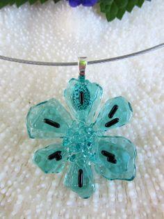 Fused glass flower pendant