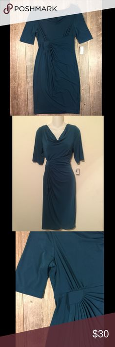 NWT teal cowlneck midi dress 42 inches long. Pulls to one side at waist. Polyester spandex. Tag reads size 10 Connected Apparel Dresses Midi