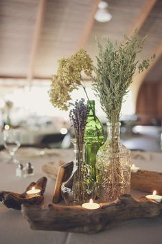 Another idea for clusters of vases with Wildflowers or dried flowers in them - could even use wine bottles