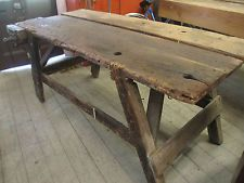 OLD LARGE Timber Work bench Kitchen Island Dining Table Trestle Legs Farmhouse