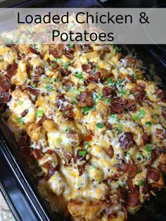 Loaded Chicken and Potatoes Ingredients: ■1 lb boneless chicken breasts, cubed (1″) ■6-8 medium skin on red potatoes, cut in 1/2″ cubes ■1/3 c olive oil ■1 1/2 tsp salt ■1 tsp black pepper ■1 Tbsp paprika ■2 Tbsp garlic powder ■2 Tbsp hot sauce (more if you like it HOT) Topping: ■2 c fiesta blend cheese ■1 c crumbled bacon ■1 c diced green onion