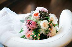 Elegant wedding bouquet idea - roses, dahlias, peonies {Nicole Noel Photography}