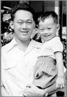 Founding PM Lee with his eldest son Lee Hsien Loong, who is currently PM of Singapore.
