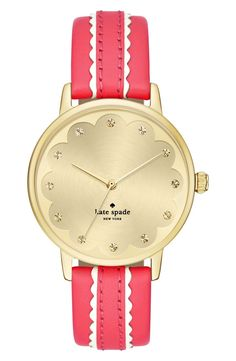A lovely scalloped dial and striking leather strap give a touch of sweet glam to this classic round watch from Kate Spade and Nordstrom Anniversary Sale.