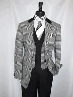 """R.Lewis Menswear #Rlb34 """"Black White Plaid"""" Vested Men's """"2 Button"""" Suit with Notch Lapels with 3 Functional """"Zippered Pockets"""" on the Jacket, with  Belted Back detail complete with High (9 inch) side Vented Back Splits. The matching Vest has 2 """"Watch Pockets"""" and the Jet Black single Pleated Pants have the Jacket Fabric Trimmed front Belt loops for more Eye Appeal are lined to the knee for comfort all only $279.99 @ BerganBrothersSuits.com Sorry Limited Sizes"""