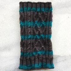 Virgin Merino Wool hand knit snood scarf in dark teal green & dark grey.   Perfect accessory to wear on a bike ride, under your motorcycle helmet, or even for your workout.