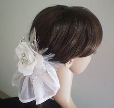 White Gardenia Hair Fascinator With by IrmasElegantBoutique.Etsy.com