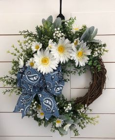 Our Grandma's Daisies and Denim Spring Farmhouse wreath provides a happy welcome to all your guests with its whimsical charm! Find your favorite at our Etsy shop, WelcomeWhimsies. Etsy Wreaths, Yarn Wreaths, Indoor Wreath, Wreath Hanger, Bow Wreath, Modern Wreath, Summer Wreath, Spring Wreaths, Winter Wreaths