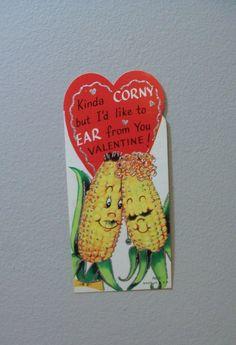 Vtg Valentine Card 60s Glitter Anthropomorphic Corn Vegetable Food UNUSED