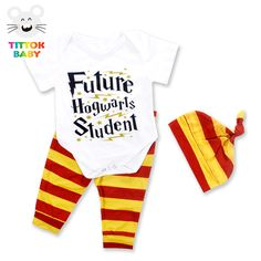 2017 Summer Baby Sets 3Pcs Future Hogwarls Student Letter Printed White Short Sleeves Red and Yellow Stripe Pants Baby Boy Sets