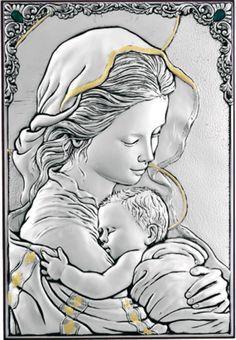 Madonna con Bambino Quadro Argento e foglia Oro su pannello in Legno