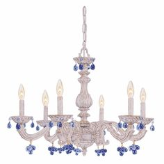 Antique White Wrought Iron Large Chandelier with Blue Murano Crystals