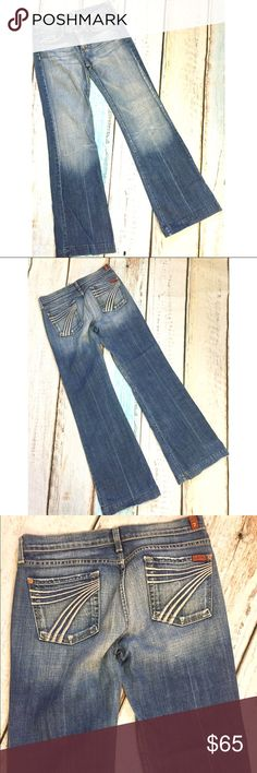 """7 for All Mankind Dojo Medium Wash Jeans Wide Leg 7 For All Mankind DOJO Jeans   Size 28  Waist: 16"""" across  Inseam: 34""""  Rise: 8""""  Leg Opening: 11""""  Some wear to hem, overall in Good condition   Please message me if you have any questions  Thank you!   AB 7 For All Mankind Jeans Flare & Wide Leg"""