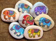 Greeting Card Painted Stone Elephants by ISassiDellAdriatico