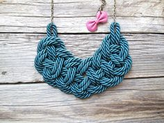 Blue Green Rope necklace  Nautical rope knot necklace by NasuKka, $34.00