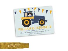Farmer Birthday Invitation - Tractor Birthday Invitation - Tractor Birthday Invite with Photo - Personalized Farm Tractor Invite with Photo Tractor Birthday Party Invitation with Photo Two fun options to choose from or pick your own colors.