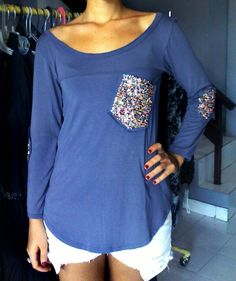 Summer/Autumn Sequined Long Sleeve Shirt Tunic Elbow Patches and Front Pocket- Comfortable, Soft, One Size, Women's Shirt Top.. $40.00, via Etsy.