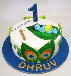 Baby Krishna theme customized cake for birthday in Pune Cake Decorating For Beginners, Cake Decorating Designs, Creative Cake Decorating, Birthday Cake Decorating, Boys First Birthday Cake, Themed Birthday Cakes, Themed Cakes, Birthday Ideas, Krishna Birthday